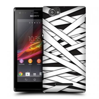 Пластиковый чехол с принтом для Sony Xperia M черно-белый