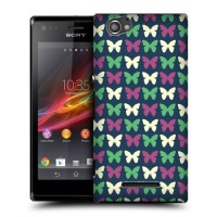 Пластиковый чехол с принтом для Sony Xperia M узор бабочки