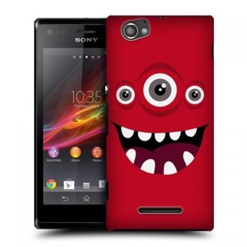 Пластиковый чехол с принтом для Sony Xperia M красный
