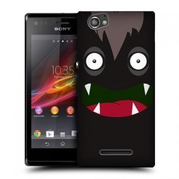 Пластиковый чехол с принтом для Sony Xperia M черный