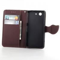 Чехол портмоне подставка с дизайнерской защелкой на силиконовой основе для Sony Xperia Z3 Compact