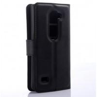 Чехол портмоне подставка на пластиковой основе с защелкой для LG Leon Черный