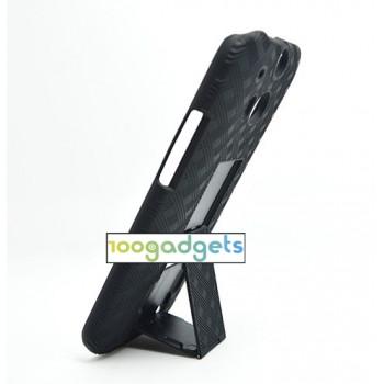 Антиударный поликарбонатный чехол с независимым защитным модулем для экрана на клипсе и ножкой-подставкой для HTC One (M8)