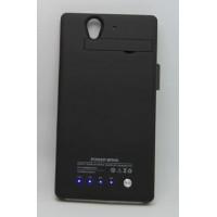Пластиковый чехол накладка/экстра аккумулятор (4200 мАч) с индикаторами заряда и встроенной подставкой для Sony Xperia Z