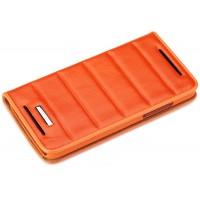 Чехол книжка подставка с тиснением для HTC Butterfly S Оранжевый