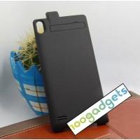 Пластиковый чехол накладка/экстра аккумулятор (2800 мАч) с индикаторами заряда и встроенной ножкой-подставкой для Huawei Ascend P6