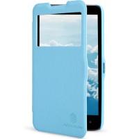 Чехол флип с окном вызова для HTC Desire 516 Голубой