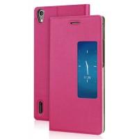 Чехол флип с окном вызова для Huawei Ascend P7 Пурпурный