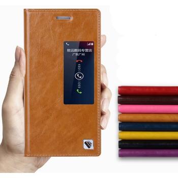 Чехол флип с активным окном вощеная кожа для Huawei Ascend P7