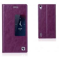 Чехол флип с активным окном вощеная кожа для Huawei Ascend P7 Фиолетовый