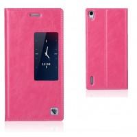 Чехол флип с активным окном вощеная кожа для Huawei Ascend P7 Розовый
