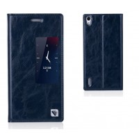 Чехол флип с активным окном вощеная кожа для Huawei Ascend P7 Синий