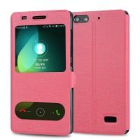 Текстурный чехол флип подставка на присоске и пластиковой основе с окном вызова и свайпом для Huawei Honor 4C Розовый