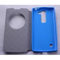 Дизайнерский текстурный чехол флип подставка с круглым окном вызова на силиконовой основе для LG Spirit Голубой