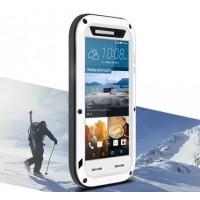 Эксклюзивный многомодульный противоударный премиум винтовой чехол с силиконовой основой, закаленным стеклом, карбоновым поверхностным слоем для HTC One M9 Белый