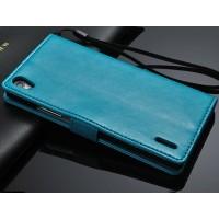 Чехол портмоне с ремешком для Huawei Ascend P7 Синий