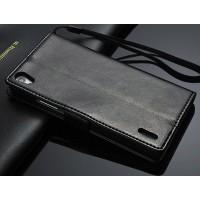 Чехол портмоне с ремешком для Huawei Ascend P7 Черный