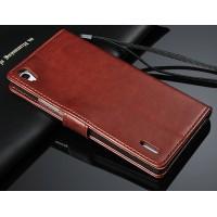 Чехол портмоне с ремешком для Huawei Ascend P7 Красный