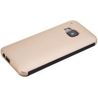 Двухкомпонентный гибридный чехол смартфлип с активной крышкой на пластиковой основе для HTC One M9 Бежевый