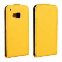 Чехол вертикальная книжка на пластиковой основе с магнитной защелкой для HTC One M9 Желтый