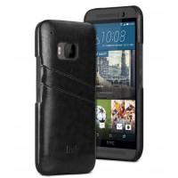 Дизайнерский кожаный чехол накладка с отделениями для карт для HTC One M9 Черный