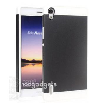 Двуцветный силиконовый чехол для Huawei Ascend P7 черно-белый