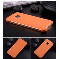Точечный чехол смарт-флип с функциями оповещения для HTC One M9 Оранжевый