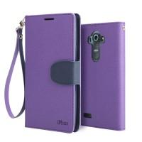 Текстурный чехол портмоне подставка на силиконовой основе с дизайнерской защелкой для LG G4 Фиолетовый