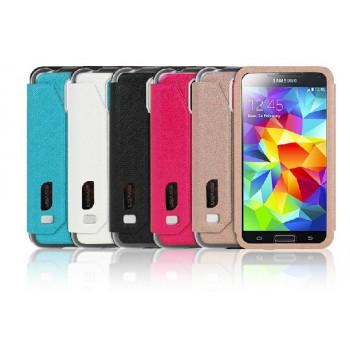 Чехол флип подставка с полноценным окном вызова на магнитной застежке для Samsung Galaxy S5