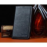 Кожаный чехол портмоне (нат. кожа крокодила) для Sony Xperia C4 Черный