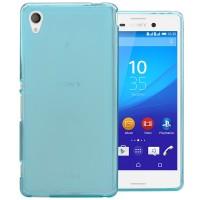 Силиконовый матовый полупрозрачный чехол для Sony Xperia M4 Aqua Голубой