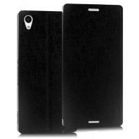 Текстурный чехол флип подставка на присоске для Sony Xperia M4 Aqua Черный
