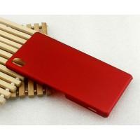 Пластиковый матовый металлик чехол для Sony Xperia M4 Aqua Красный