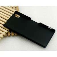 Пластиковый матовый металлик чехол для Sony Xperia M4 Aqua Черный