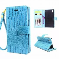 Чехол портмоне подставка текстура Крокодил с магнитной защелкой и ремешком на пластиковой основе для Sony Xperia M4 Aqua Голубой