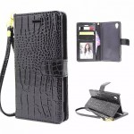 Чехол портмоне подставка текстура Крокодил с магнитной защелкой и ремешком на пластиковой основе для Sony Xperia M4 Aqua