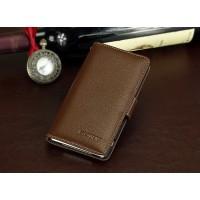 Кожаный чехол портмоне (нат. кожа) для Sony Xperia M4 Aqua Коричневый