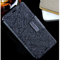 Текстурный чехол флип подставка с магнитной застежкой на силиконовой нескользящей основе для Sony Xperia M4 Aqua Черный
