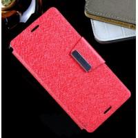 Текстурный чехол флип подставка с магнитной застежкой на силиконовой нескользящей основе для Sony Xperia M4 Aqua Пурпурный