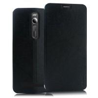Текстурный чехол флип подставка на присоске для Asus Zenfone 2 Черный