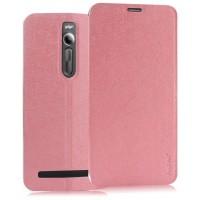 Текстурный чехол флип подставка на присоске для Asus Zenfone 2 Розовый