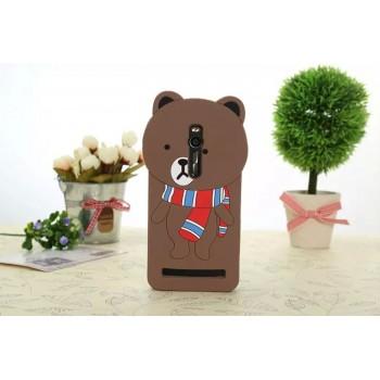 Силиконовый дизайнерский фигурный чехол Медведь для Asus Zenfone 2