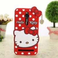 Силиконовый дизайнерский фигурный чехол Hello Kitty для Asus Zenfone 2 Красный