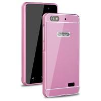 Двухкомпонентный чехол с металлическим бампером и поликарбонатной накладкой для Huawei Honor 4C Розовый