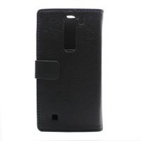 Чехол портмоне подставка на пластиковой основе с защелкой для LG Magna Черный