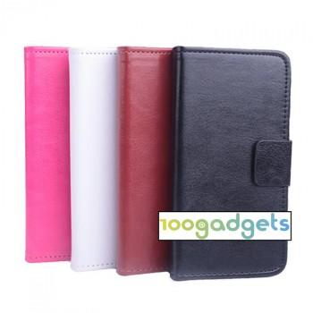 Чехол портмоне подставка из гладкой кожи на силиконовой основе с магнитной защелкой для LG Magna