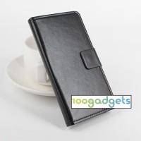 Чехол портмоне подставка из гладкой кожи на силиконовой основе с магнитной защелкой для LG Magna Черный
