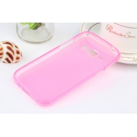 Силиконовый матовый полупрозрачный чехол для Samsung J1 Розовый