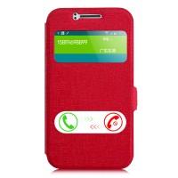 Чехол флип подставка на пластиковой основе с окном вызова и свайпом для Samsung J1 Красный