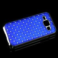 Пластиковый чехол с металлическим напылением и стразами для Samsung J1 Синий